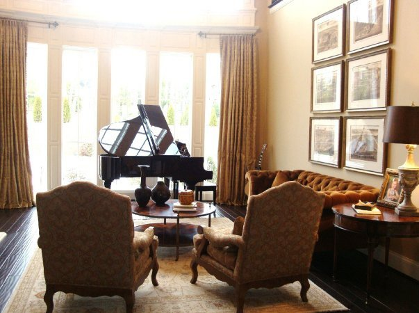 Music room design leslie newpher interiors high end for Piano for small space