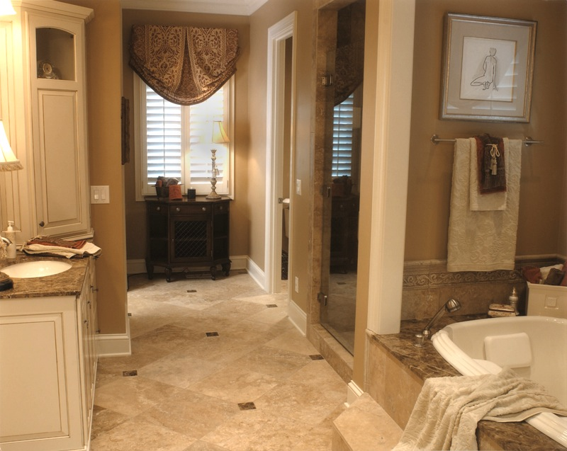 Master bathroom design build leslie newpher interiors for Bathroom design build